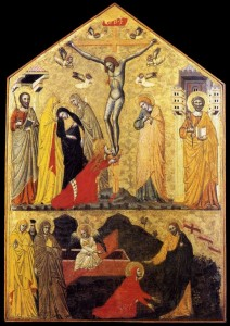 14th-century_unknown_painters_-_Crucifixion_with_Saints_and_Noli_Me_Tangere WMC